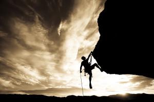 rock climb sepia