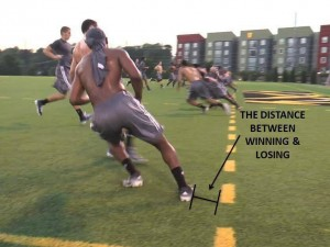 Distance between winning and losing.